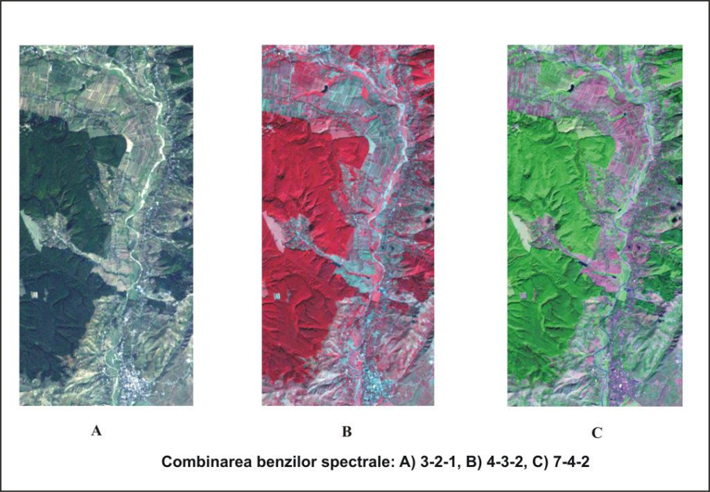 <b>Landsat 7 - bands combinations</b>